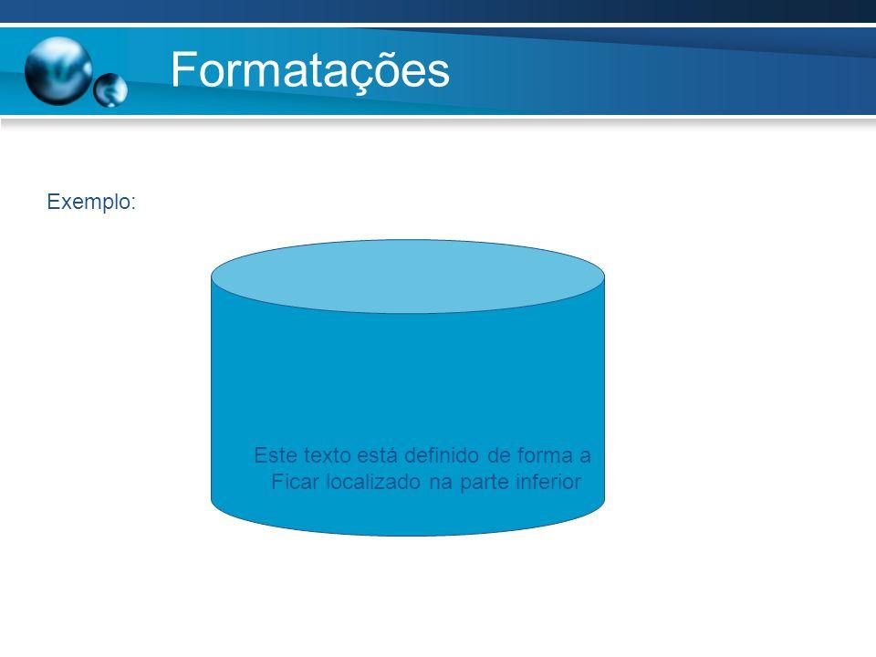 Formatações Exemplo: Este texto está definido de forma a Ficar localizado na parte inferior
