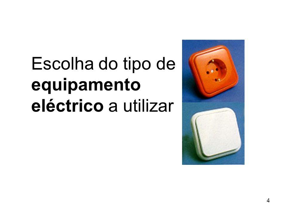 4 Escolha do tipo de equipamento eléctrico a utilizar