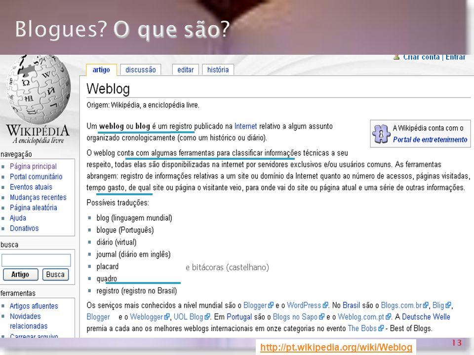 http://pt.wikipedia.org/wiki/Weblog O que são Blogues? O que são? e bitácoras (castelhano) 13