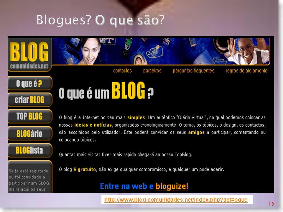 O que são Blogues? O que são? http://www.blog.comunidades.net/index.php?act=oque 15