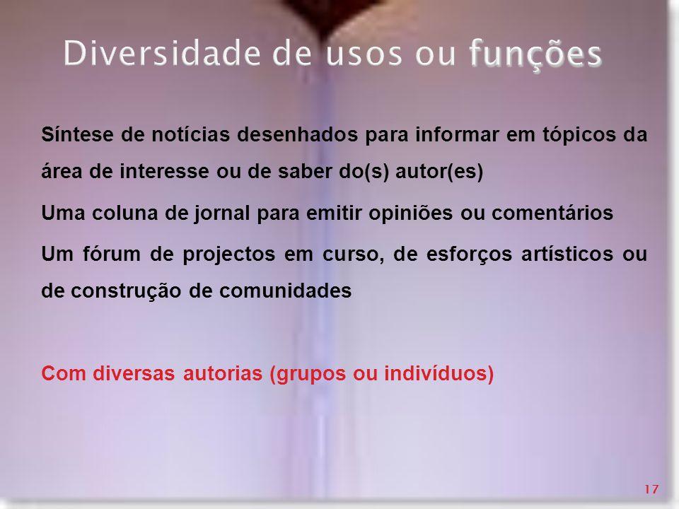 funções Diversidade de usos ou funções Síntese de notícias desenhados para informar em tópicos da área de interesse ou de saber do(s) autor(es) Uma co