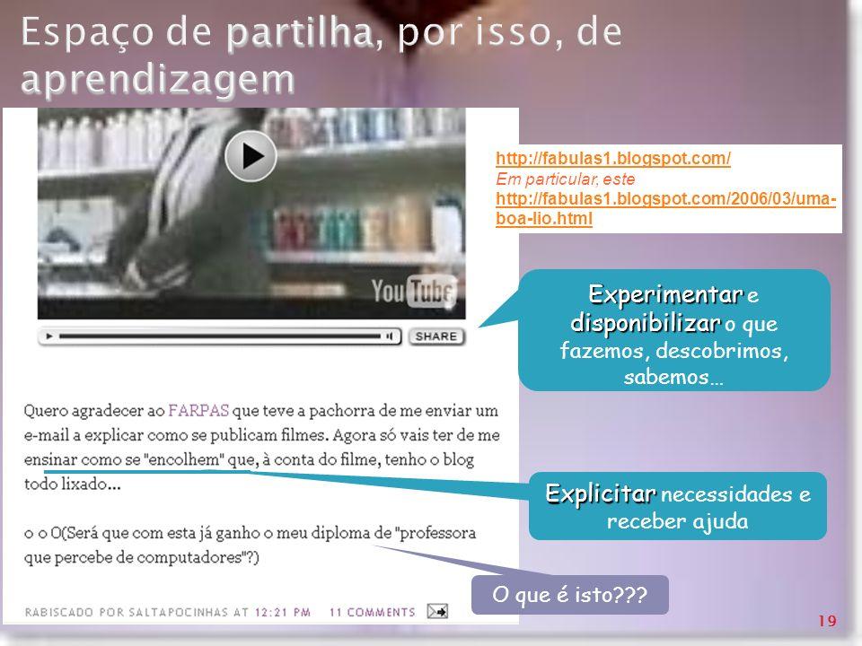 partilha aprendizagem Espaço de partilha, por isso, de aprendizagem http://fabulas1.blogspot.com/ Em particular, este http://fabulas1.blogspot.com/200