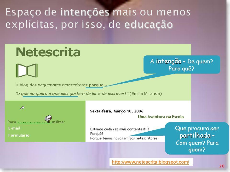 intenções educação Espaço de intenções mais ou menos explícitas, por isso, de educação http://www.netescrita.blogspot.com/ intenção - A intenção - De