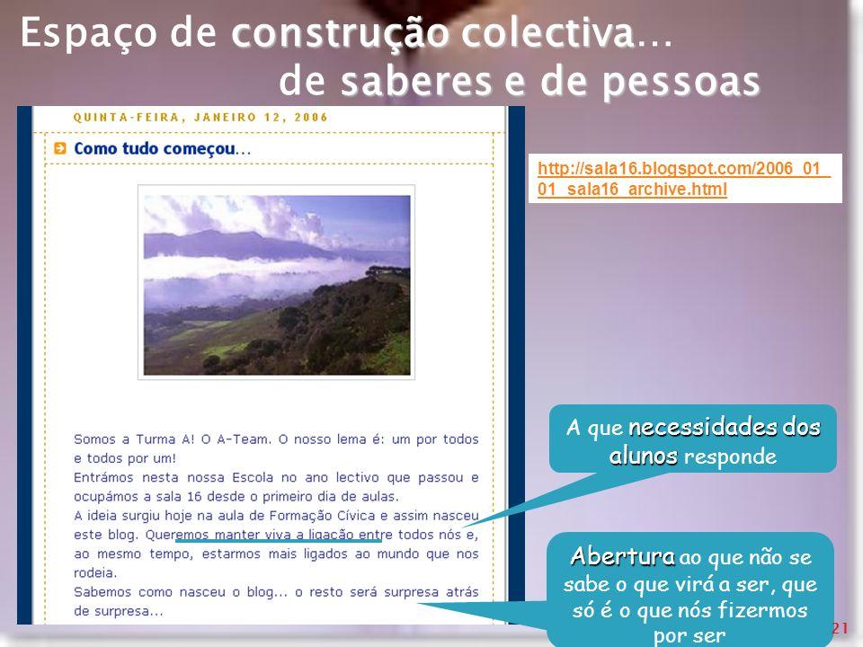 http://sala16.blogspot.com/2006_01_ 01_sala16_archive.html construção colectiva saberes e de pessoas Espaço de construção colectiva… de saberes e de p