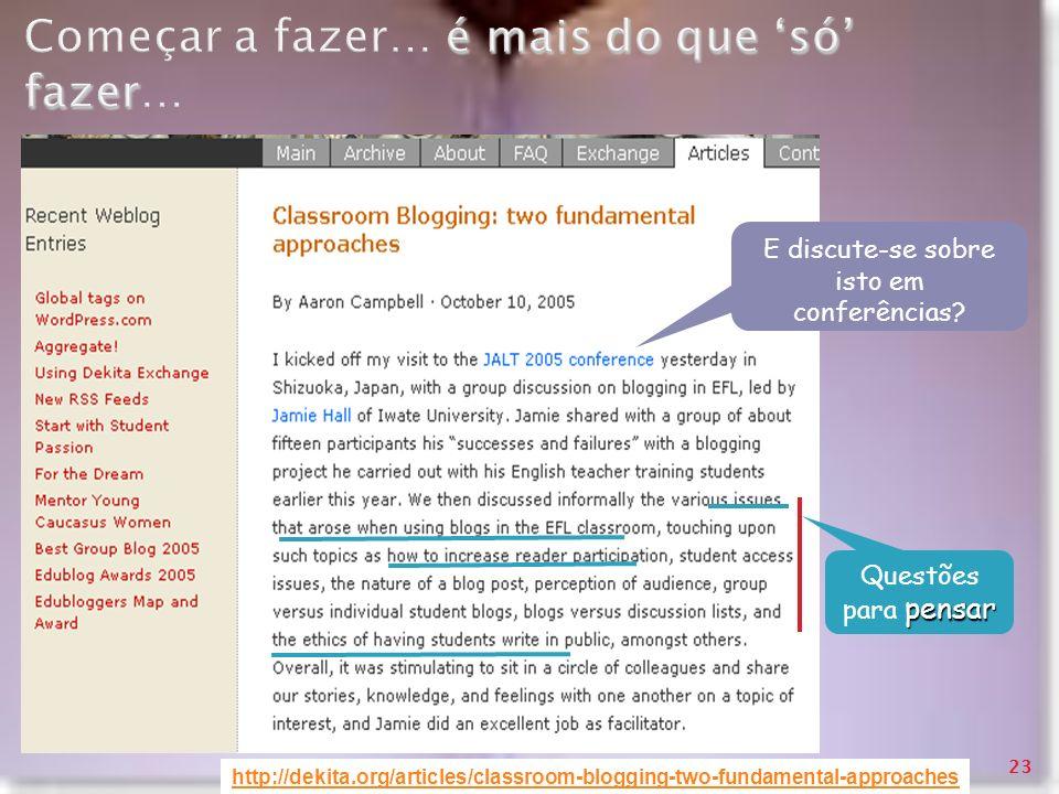 émais do que só fazer Começar a fazer… é mais do que só fazer… http://dekita.org/articles/classroom-blogging-two-fundamental-approaches pensar Questõe