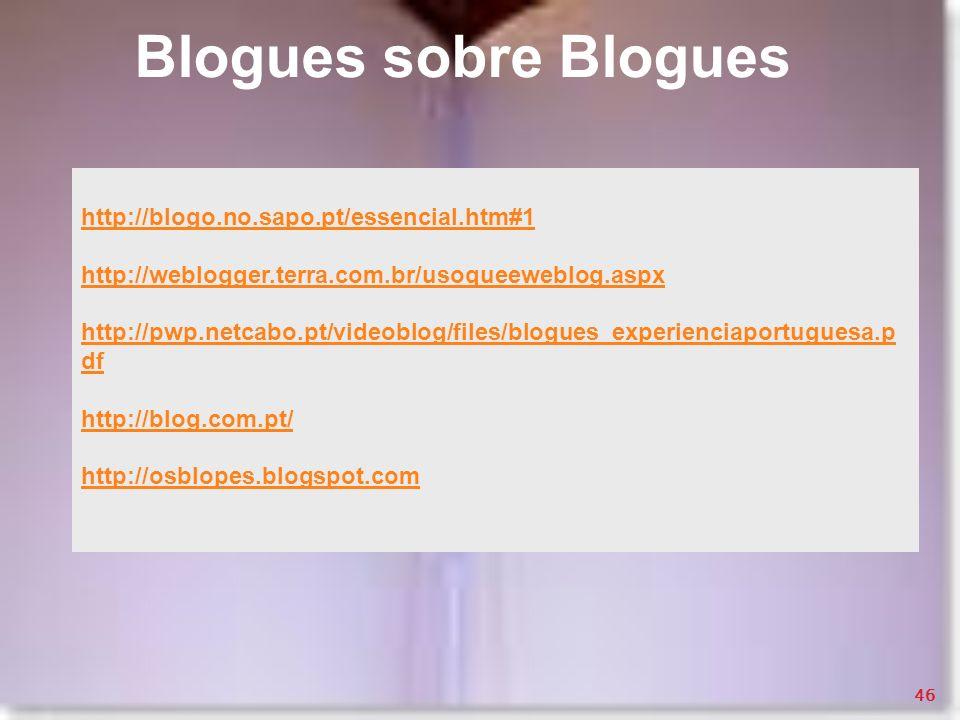 Blogues sobre Blogues http://blogo.no.sapo.pt/essencial.htm#1 http://weblogger.terra.com.br/usoqueeweblog.aspx http://pwp.netcabo.pt/videoblog/files/b