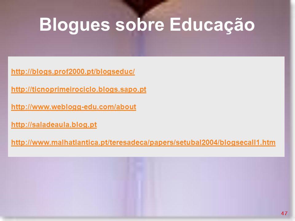 Blogues sobre Educação http://blogs.prof2000.pt/blogseduc/ http://ticnoprimeirociclo.blogs.sapo.pt http://www.weblogg-edu.com/about http://saladeaula.