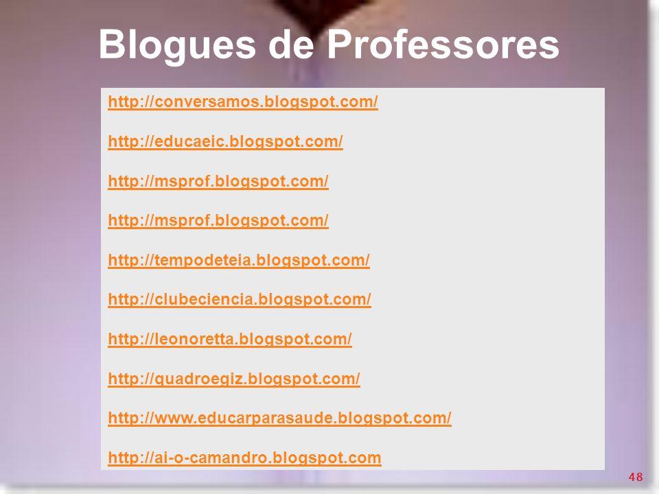 Blogues de Professores http://conversamos.blogspot.com/ http://educaeic.blogspot.com/ http://msprof.blogspot.com/ http://tempodeteia.blogspot.com/ htt