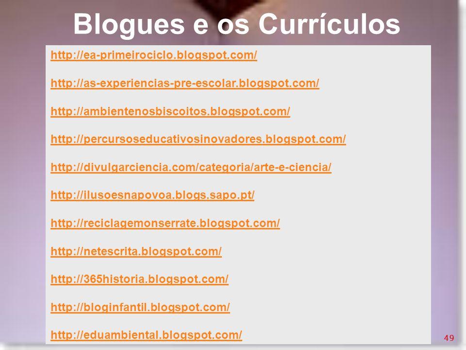 Blogues e os Currículos http://ea-primeirociclo.blogspot.com/ http://as-experiencias-pre-escolar.blogspot.com/ http://ambientenosbiscoitos.blogspot.co