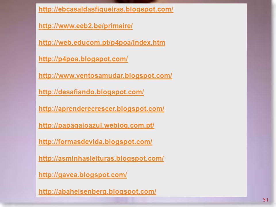 http://ebcasaldasfigueiras.blogspot.com/ http://www.eeb2.be/primaire/ http://web.educom.pt/p4poa/index.htm http://p4poa.blogspot.com/ http://www.vento