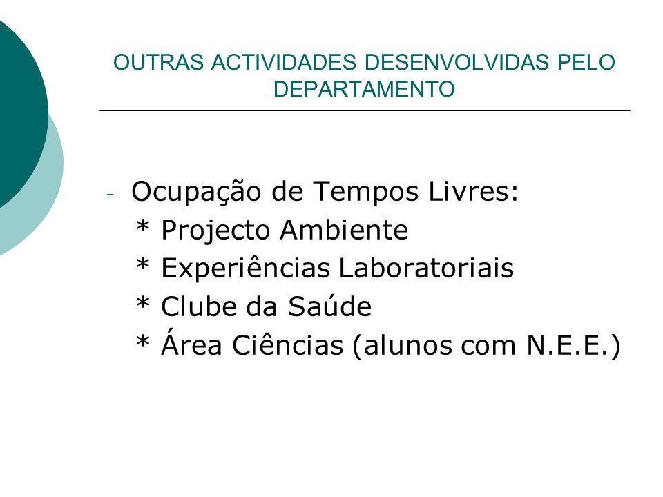 OUTRAS ACTIVIDADES DESENVOLVIDAS PELO DEPARTAMENTO - Ocupação de Tempos Livres: * Projecto Ambiente * Experiências Laboratoriais * Clube da Saúde * Ár