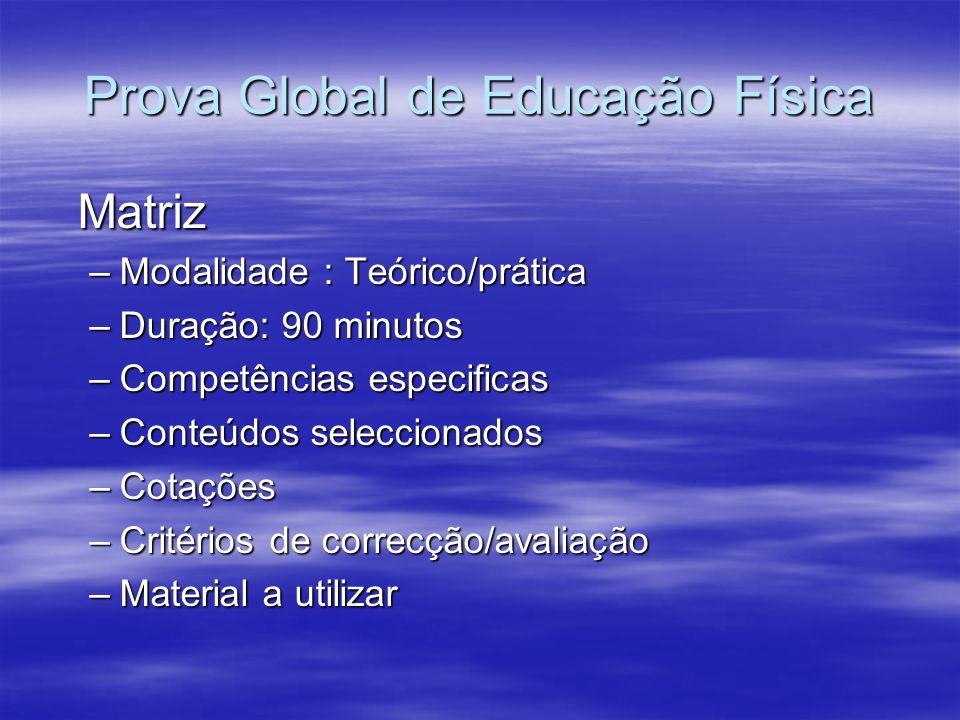 Prova Global de Educação Física Matriz –Modalidade : Teórico/prática –Duração: 90 minutos –Competências especificas –Conteúdos seleccionados –Cotações