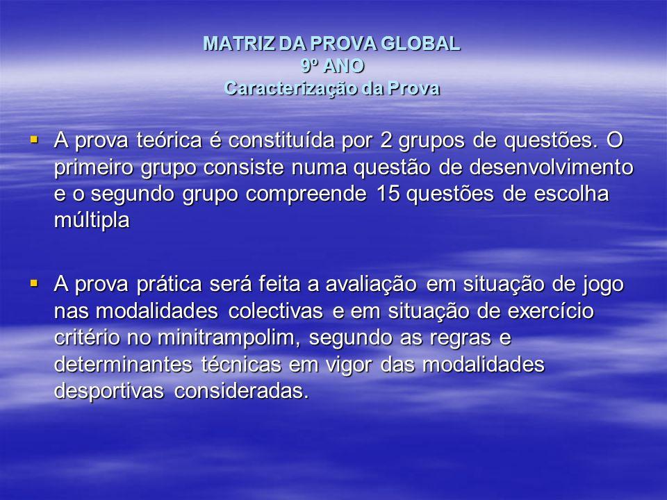 MATRIZ DA PROVA GLOBAL 9º ANO Caracterização da Prova A prova teórica é constituída por 2 grupos de questões. O primeiro grupo consiste numa questão d
