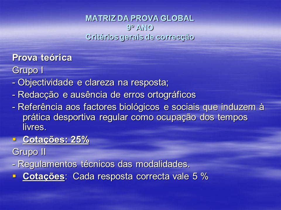 MATRIZ DA PROVA GLOBAL 9º ANO Critérios gerais de correcção Prova teórica Grupo I - Objectividade e clareza na resposta; - Redacção e ausência de erro