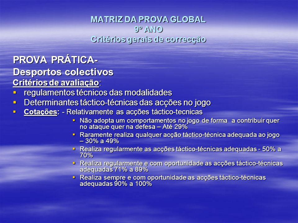 MATRIZ DA PROVA GLOBAL 9º ANO Critérios gerais de correcção PROVA PRÁTICA- Desportos colectivos Critérios de avaliação: regulamentos técnicos das moda