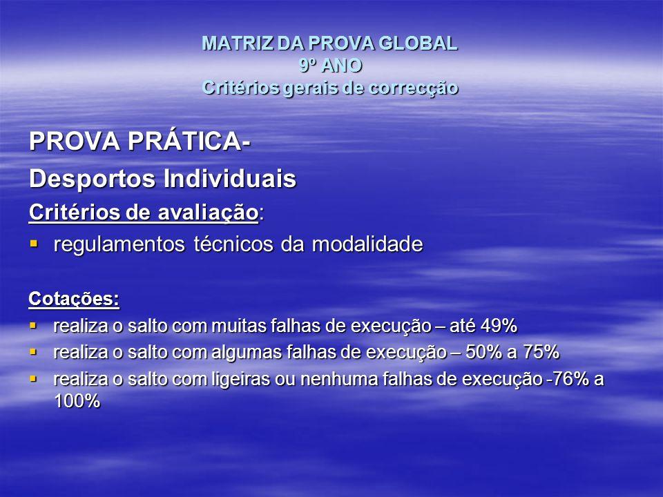 MATRIZ DA PROVA GLOBAL 9º ANO Critérios gerais de correcção PROVA PRÁTICA- Desportos Individuais Critérios de avaliação: regulamentos técnicos da moda
