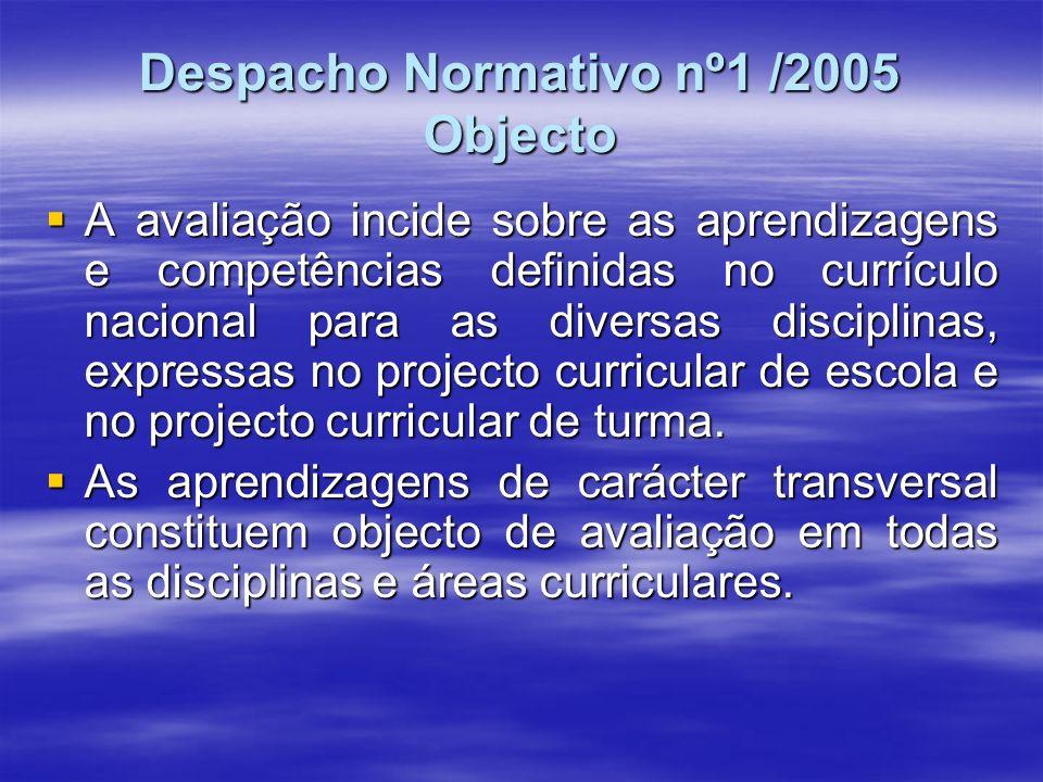 Despacho Normativo nº1 /2005 Define ainda: Princípios sobre os quais assentam as aprendizagens Princípios sobre os quais assentam as aprendizagens Intervenientes do processo de avaliação Intervenientes do processo de avaliação Processo Individual do Aluno-a que se refere o art.