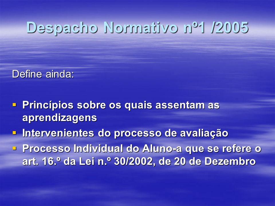 Despacho Normativo nº1 /2005 II – Processo de avaliação Critérios de Avaliação Critérios de Avaliação Avaliação Formativa Avaliação Formativa A avaliação sumativa que inclui: A avaliação sumativa que inclui: a) A avaliação sumativa interna; b) A avaliação sumativa externa no 9º ano de escolaridade