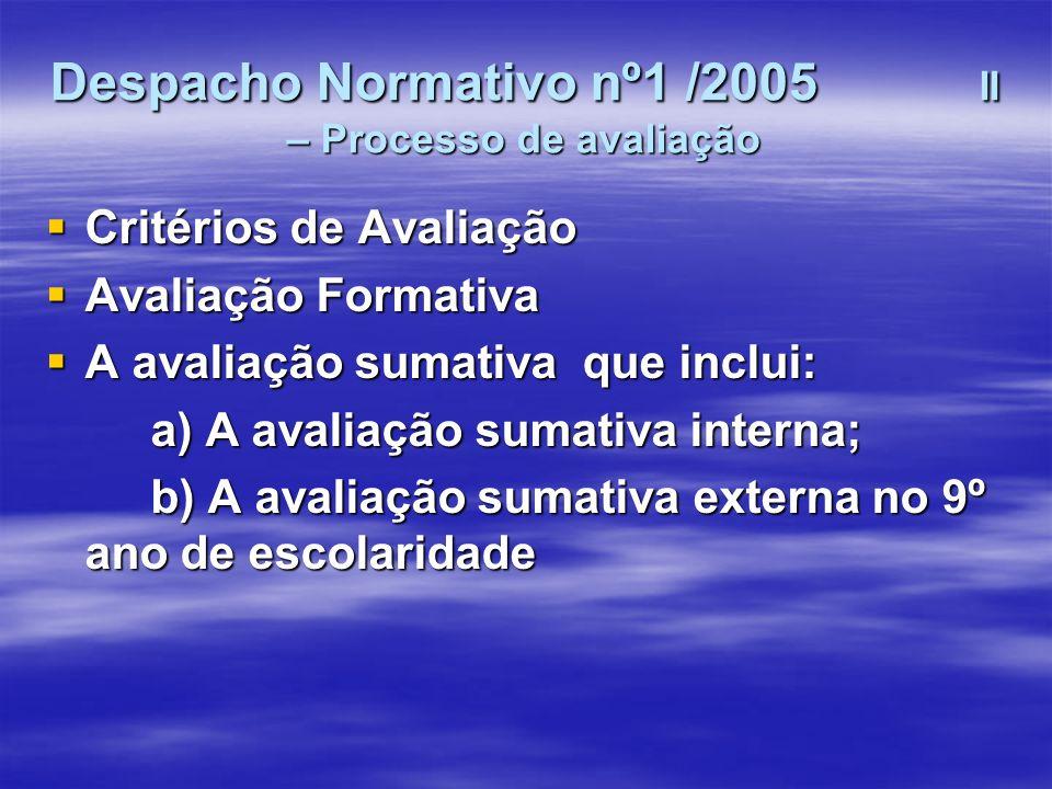 Despacho Normativo nº1 /2005 II – Processo de avaliação Critérios de Avaliação Critérios de Avaliação Avaliação Formativa Avaliação Formativa A avalia