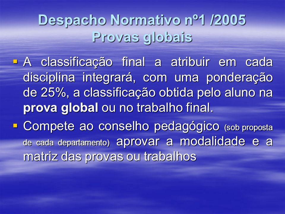Despacho Normativo nº1 /2005 Provas globais A classificação final a atribuir em cada disciplina integrará, com uma ponderação de 25%, a classificação