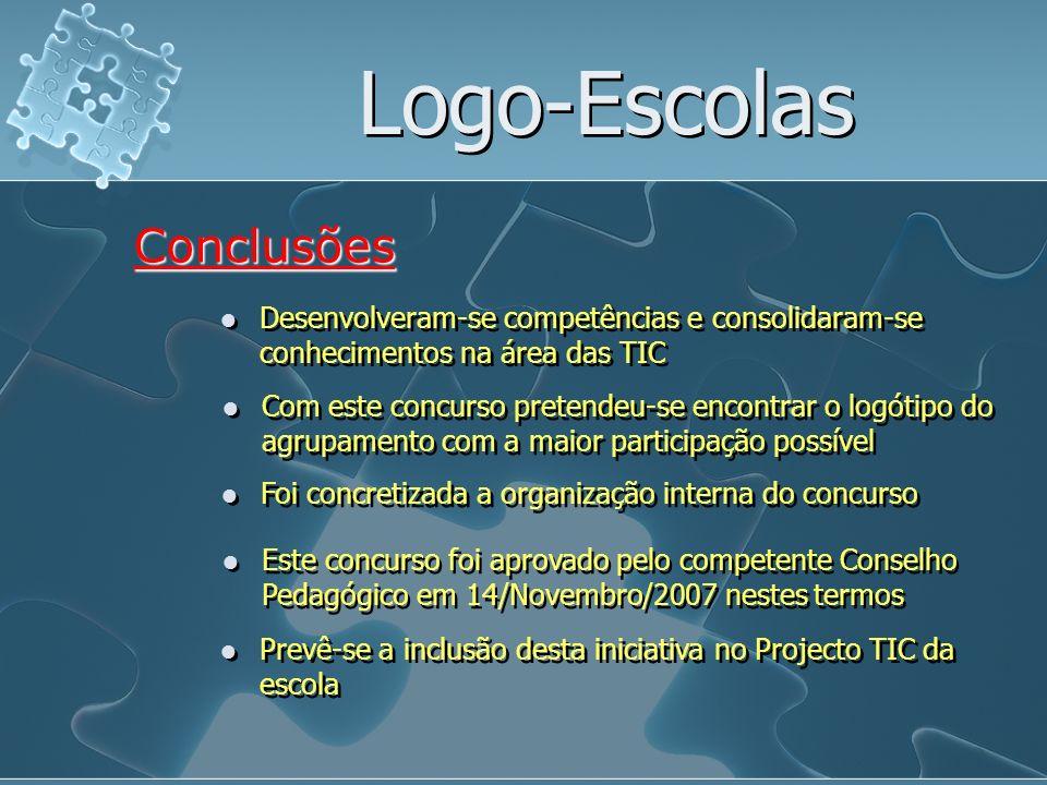 Logo-Escolas Desenvolveram-se competências e consolidaram-se conhecimentos na área das TIC Conclusões Com este concurso pretendeu-se encontrar o logót