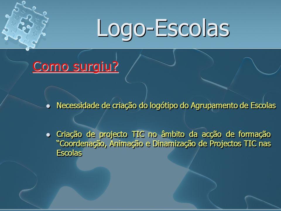 Logo-Escolas Necessidade de criação do logótipo do Agrupamento de Escolas Como surgiu? Criação de projecto TIC no âmbito da acção de formação Coordena