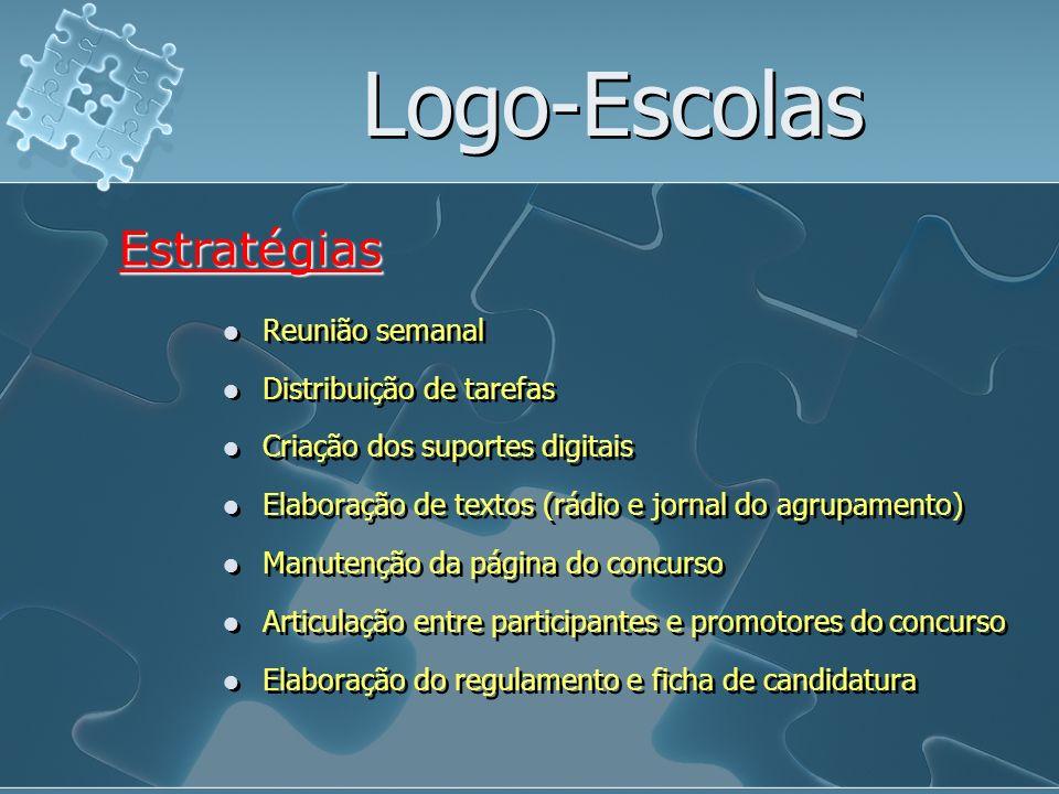 Logo-Escolas Reunião semanal Estratégias Distribuição de tarefas Criação dos suportes digitais Elaboração de textos (rádio e jornal do agrupamento) Ma
