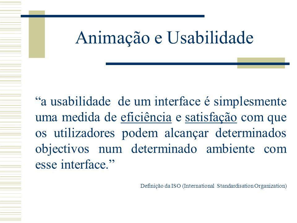 Animação e Usabilidade a usabilidade de um interface é simplesmente uma medida de eficiência e satisfação com que os utilizadores podem alcançar deter