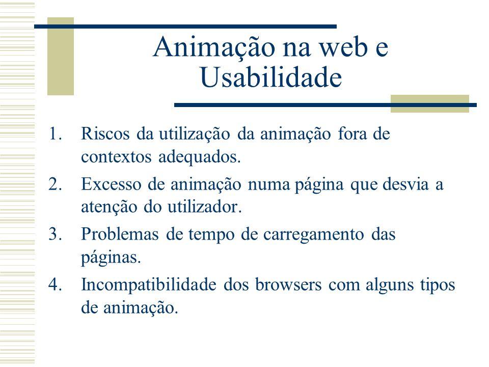 1.Riscos da utilização da animação fora de contextos adequados. 2.Excesso de animação numa página que desvia a atenção do utilizador. 3.Problemas de t