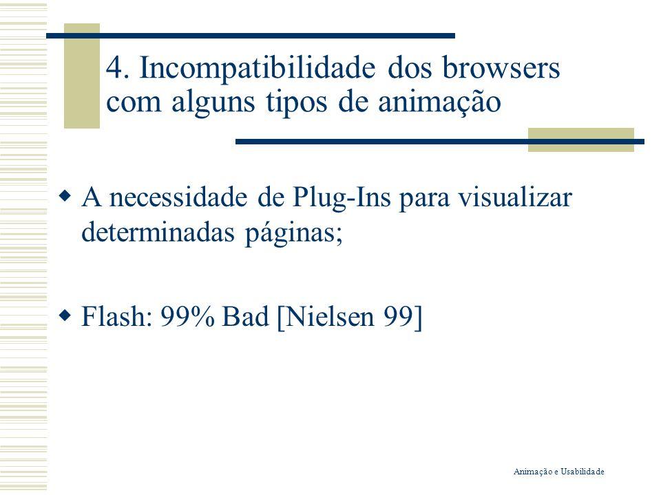 4. Incompatibilidade dos browsers com alguns tipos de animação A necessidade de Plug-Ins para visualizar determinadas páginas; Flash: 99% Bad [Nielsen