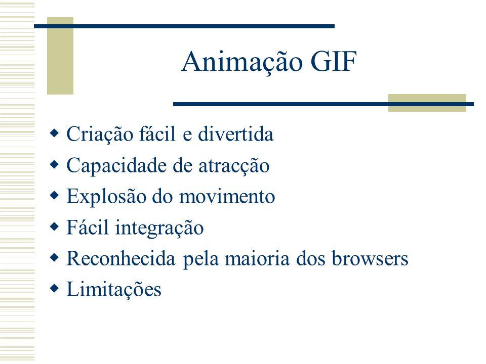 Animação GIF Criação fácil e divertida Capacidade de atracção Explosão do movimento Fácil integração Reconhecida pela maioria dos browsers Limitações