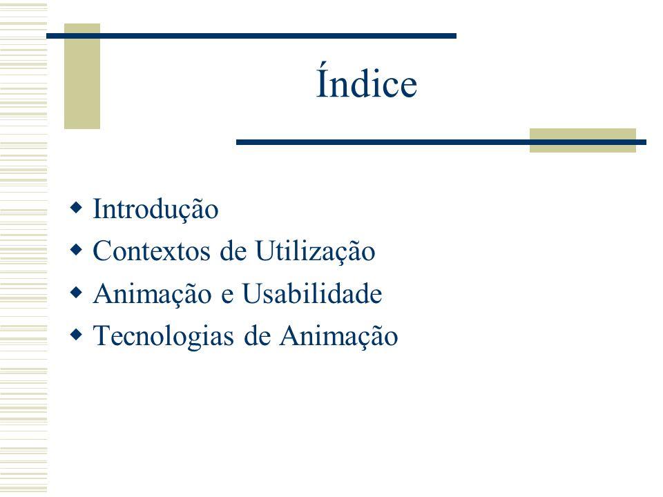 Índice Introdução Contextos de Utilização Animação e Usabilidade Tecnologias de Animação