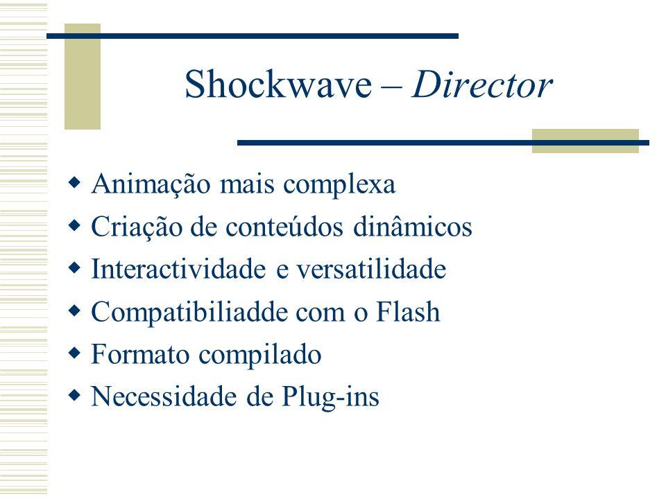 Shockwave – Director Animação mais complexa Criação de conteúdos dinâmicos Interactividade e versatilidade Compatibiliadde com o Flash Formato compila