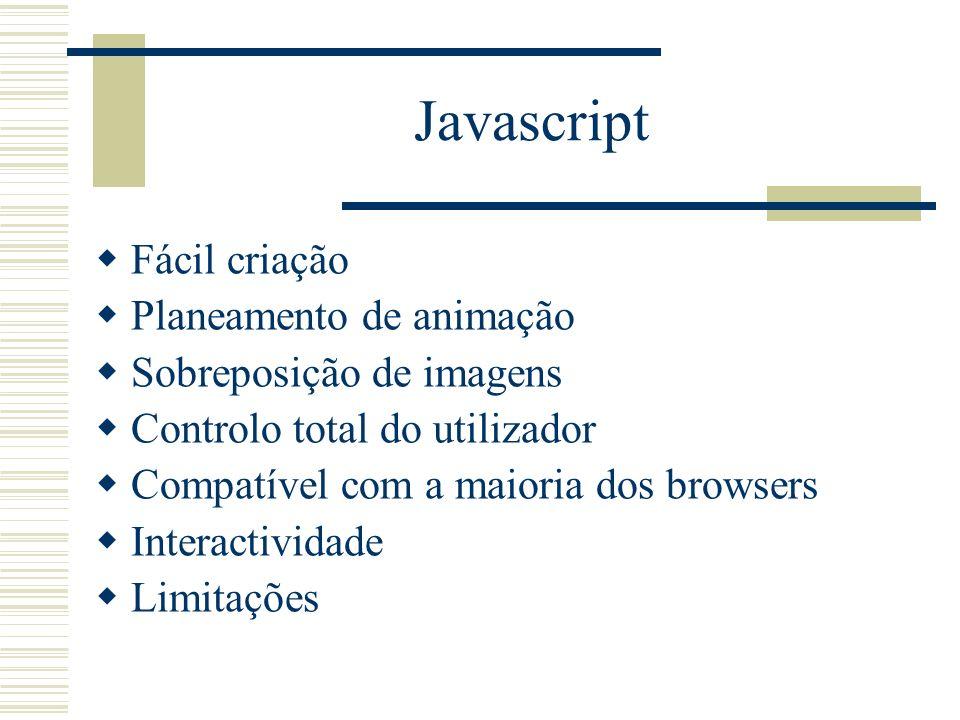 Javascript Fácil criação Planeamento de animação Sobreposição de imagens Controlo total do utilizador Compatível com a maioria dos browsers Interactiv