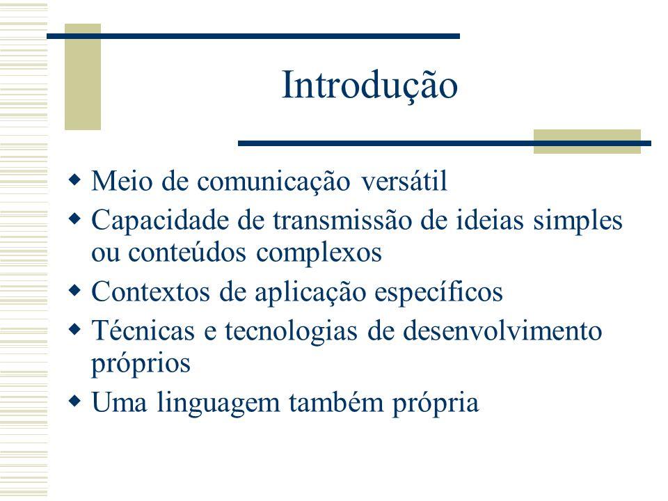 Introdução Meio de comunicação versátil Capacidade de transmissão de ideias simples ou conteúdos complexos Contextos de aplicação específicos Técnicas