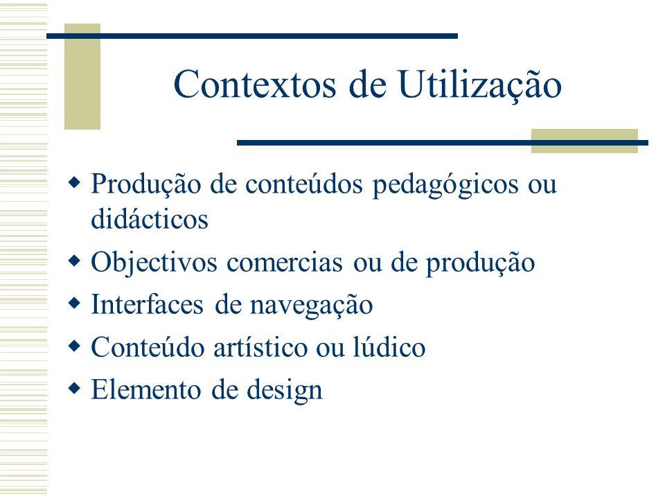 Contextos de Utilização Produção de conteúdos pedagógicos ou didácticos Objectivos comercias ou de produção Interfaces de navegação Conteúdo artístico