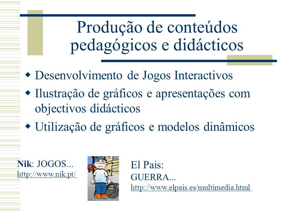 Produção de conteúdos pedagógicos e didácticos Desenvolvimento de Jogos Interactivos Ilustração de gráficos e apresentações com objectivos didácticos