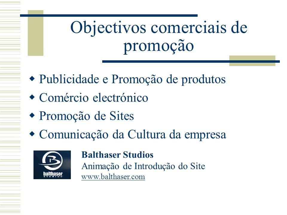 Objectivos comerciais de promoção Publicidade e Promoção de produtos Comércio electrónico Promoção de Sites Comunicação da Cultura da empresa Balthase