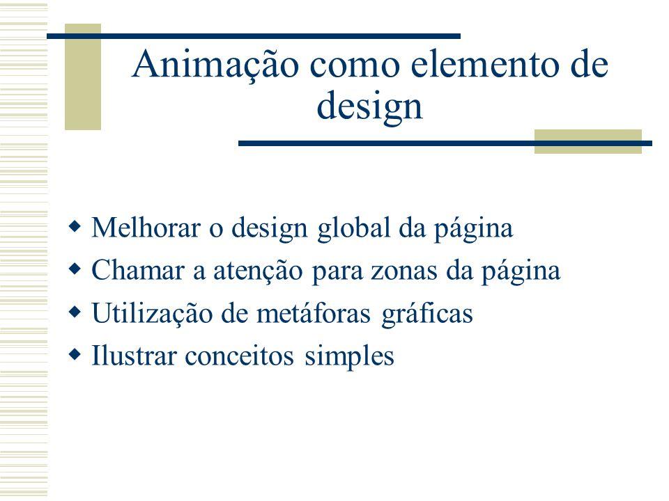 Animação como elemento de design Melhorar o design global da página Chamar a atenção para zonas da página Utilização de metáforas gráficas Ilustrar co