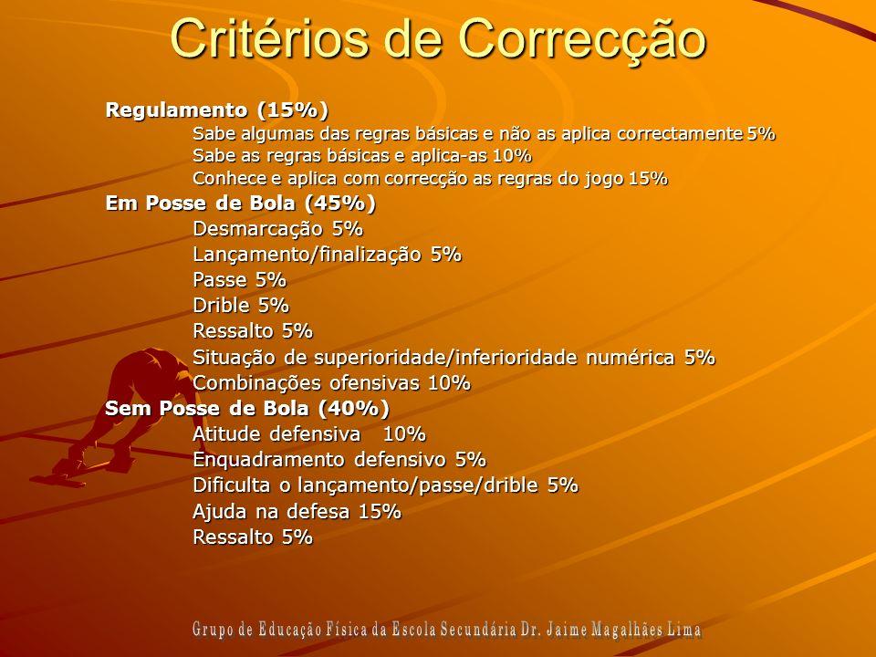 Critérios de Correcção Regulamento (15%) Sabe algumas das regras básicas e não as aplica correctamente 5% Sabe as regras básicas e aplica-as 10% Conhe