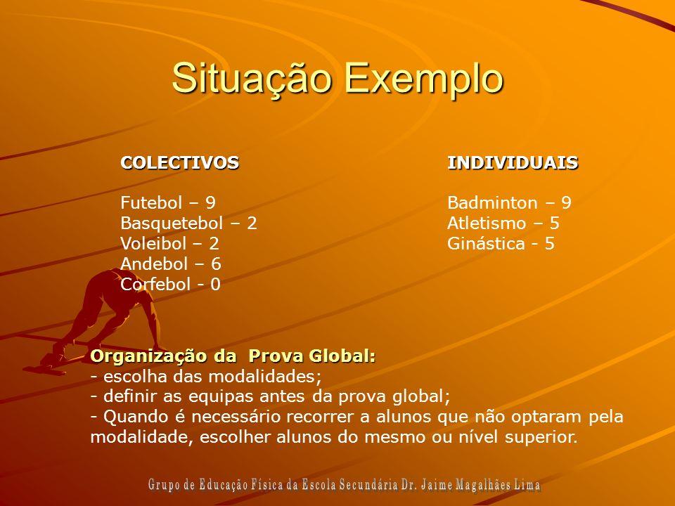 Situação Exemplo COLECTIVOS Futebol – 9 Basquetebol – 2 Voleibol – 2 Andebol – 6 Corfebol - 0INDIVIDUAIS Badminton – 9 Atletismo – 5 Ginástica - 5 Org