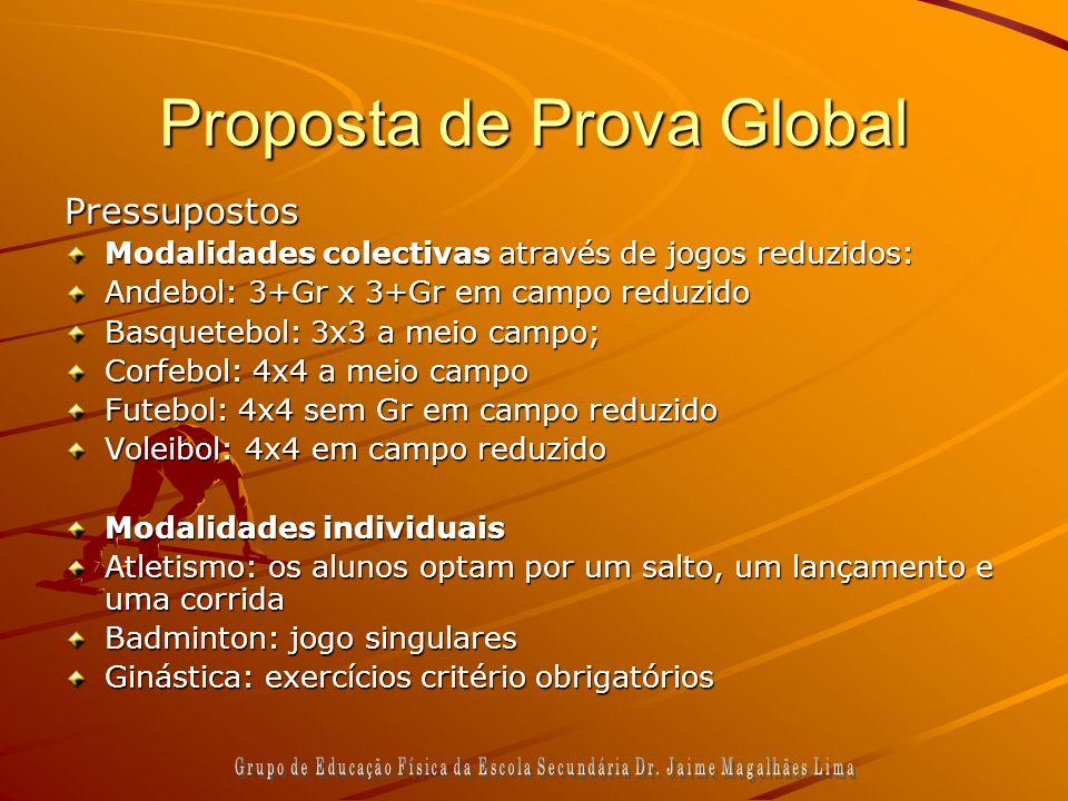 Proposta de Prova Global Pressupostos Modalidades colectivas através de jogos reduzidos: Andebol: 3+Gr x 3+Gr em campo reduzido Basquetebol: 3x3 a mei