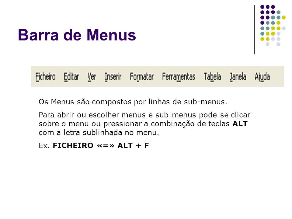 Barra de Menus Os Menus são compostos por linhas de sub-menus. Para abrir ou escolher menus e sub-menus pode-se clicar sobre o menu ou pressionar a co