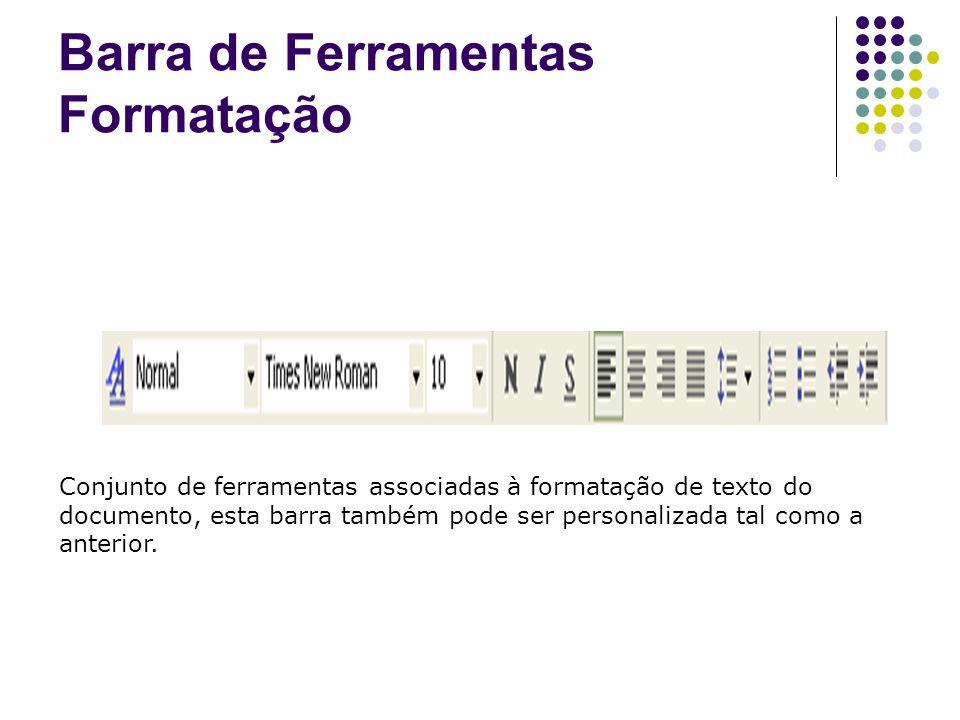Barra de Ferramentas Formatação Conjunto de ferramentas associadas à formatação de texto do documento, esta barra também pode ser personalizada tal co
