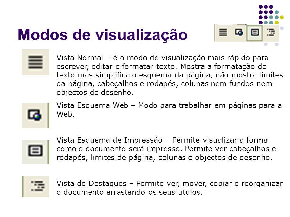 Modos de visualização Vista Normal – é o modo de visualização mais rápido para escrever, editar e formatar texto. Mostra a formatação de texto mas sim