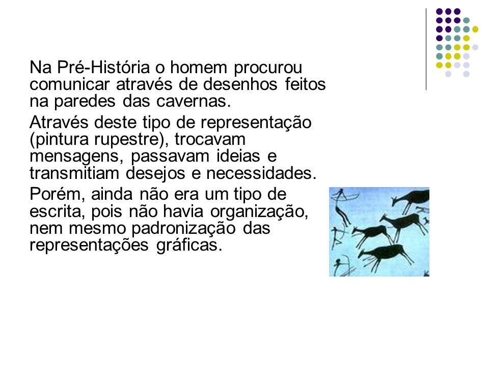 Na Pré-História o homem procurou comunicar através de desenhos feitos na paredes das cavernas. Através deste tipo de representação (pintura rupestre),