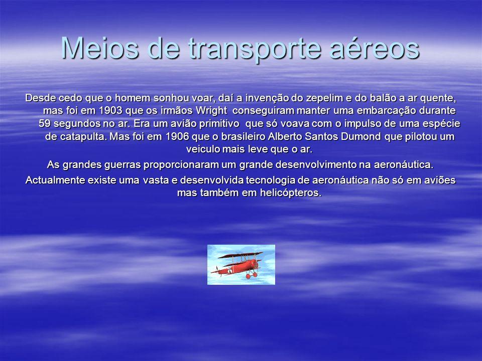 Meios de transporte aéreos Desde cedo que o homem sonhou voar, daí a invenção do zepelim e do balão a ar quente, mas foi em 1903 que os irmãos Wright