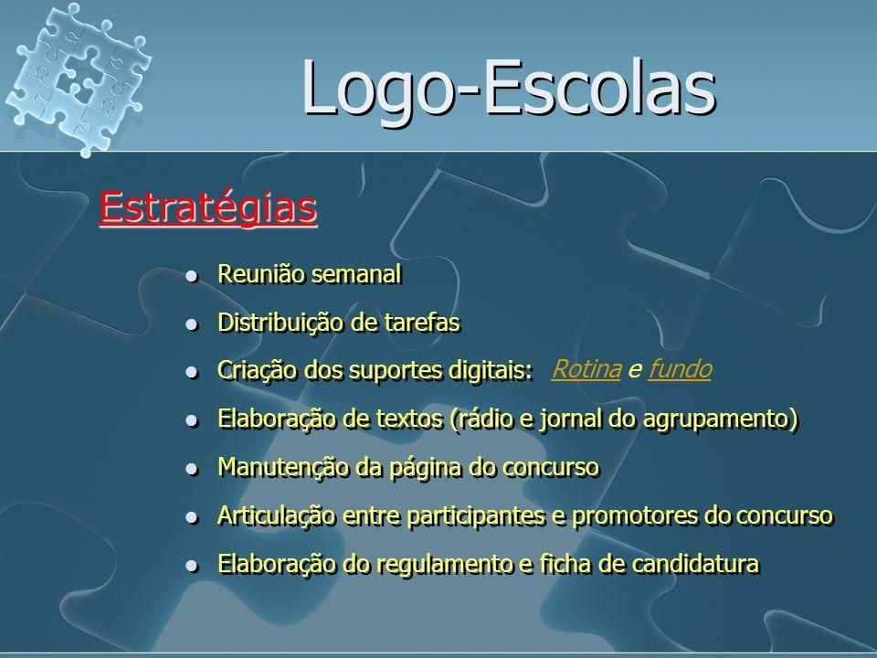 Logo-Escolas Reunião semanal Estratégias Distribuição de tarefas Criação dos suportes digitais: Elaboração de textos (rádio e jornal do agrupamento) M