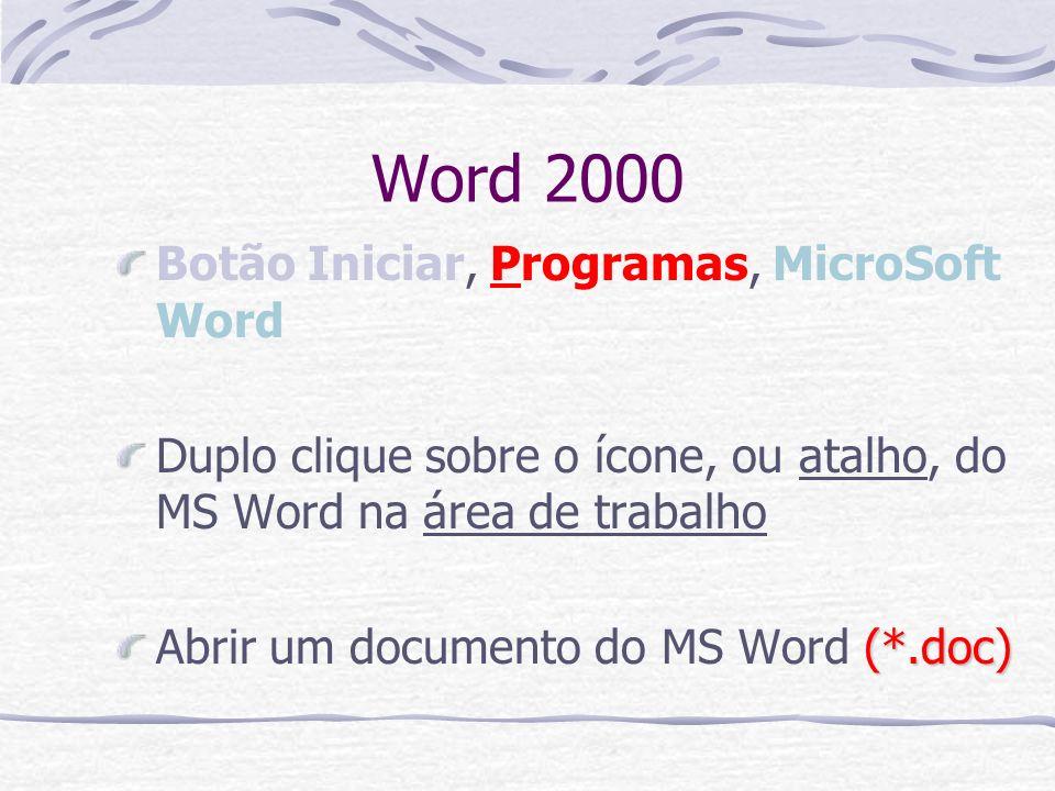 Word 2000 Botão Iniciar, Programas, MicroSoft Word Duplo clique sobre o ícone, ou atalho, do MS Word na área de trabalho (*.doc) Abrir um documento do