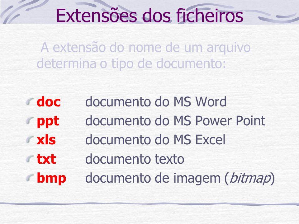 Extensões dos ficheiros A extensão do nome de um arquivo determina o tipo de documento: docdocumento do MS Word pptdocumento do MS Power Point xlsdocu